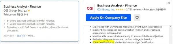 BA opening in CGI Group, Inc., Princeton, NJ, US