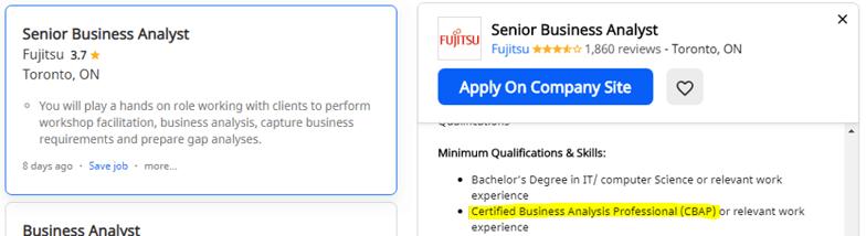 BA opportunities in Fujitsu, Toronto, Canada